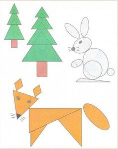животные из геометрических фигур