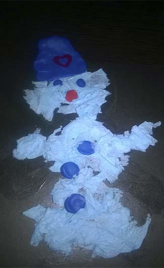 поделка из салфеток Снеговик