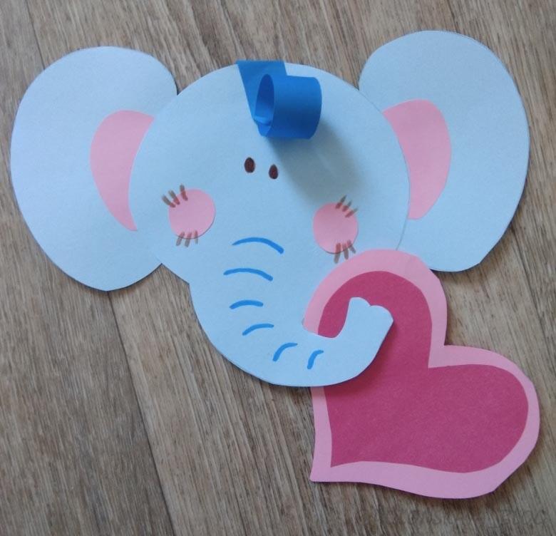 слоненок-валентинка красивые поделки с детьми на 14 февраля